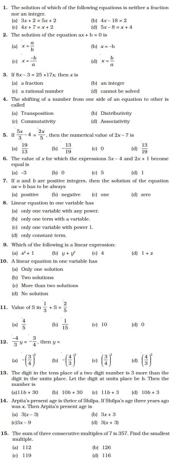 Class 8 Important Questions For Maths – Linear Equations In One Intended For Linear Equation In One Variable Worksheet