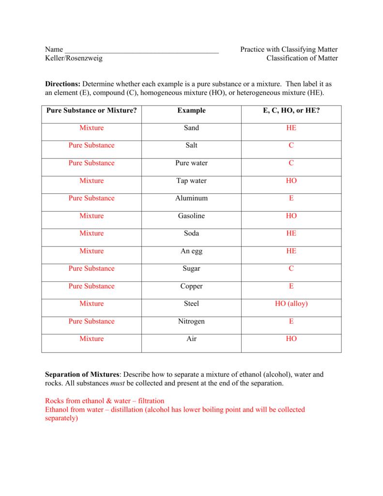 Classification Of Matter Worksheet Answer Key ...