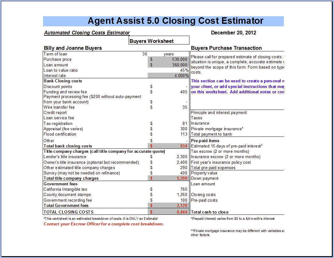 Closing Costs Seller Closing Costs Calculator Inside Seller Closing Cost Worksheet