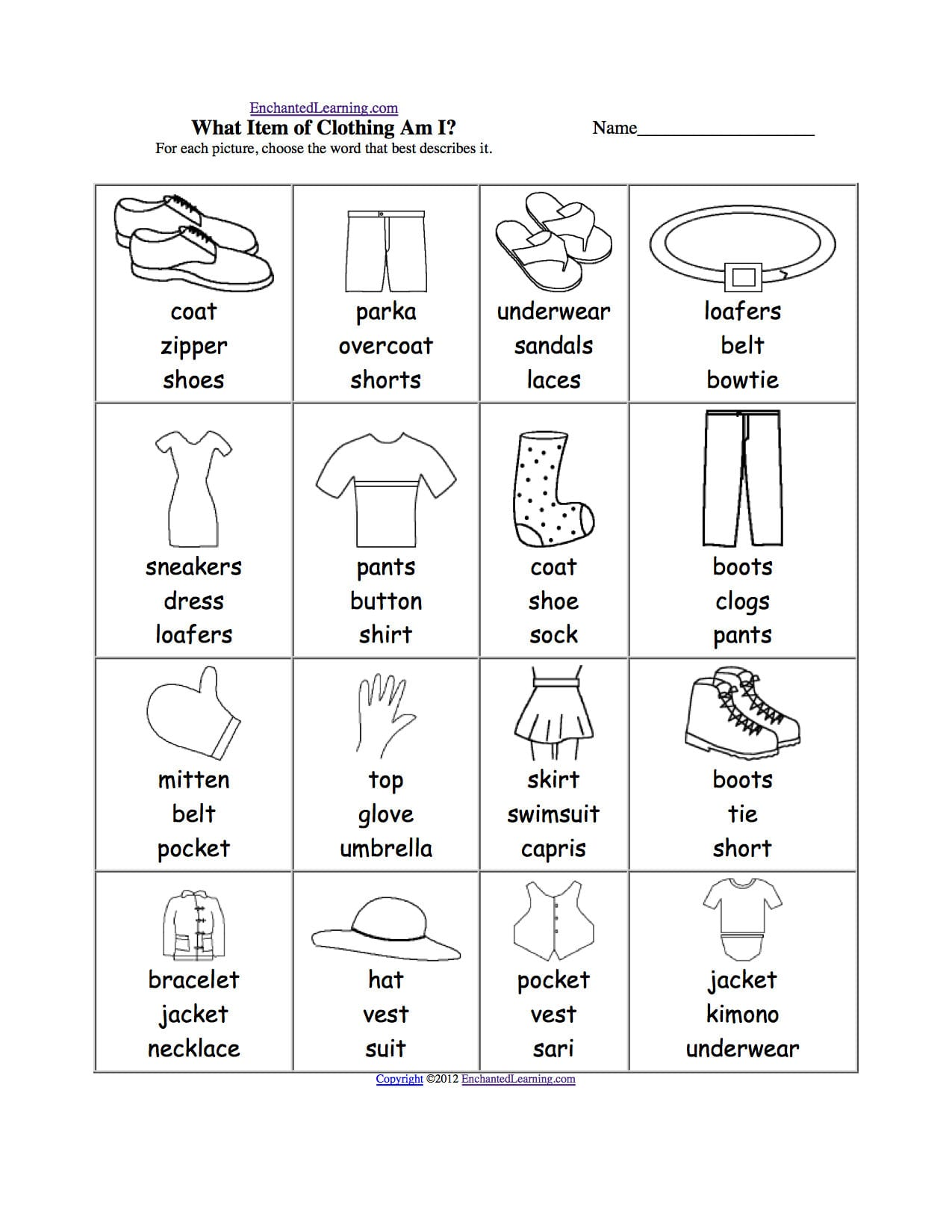 Clothes At Enchantedlearning As Well As Sorting Clothes Worksheet