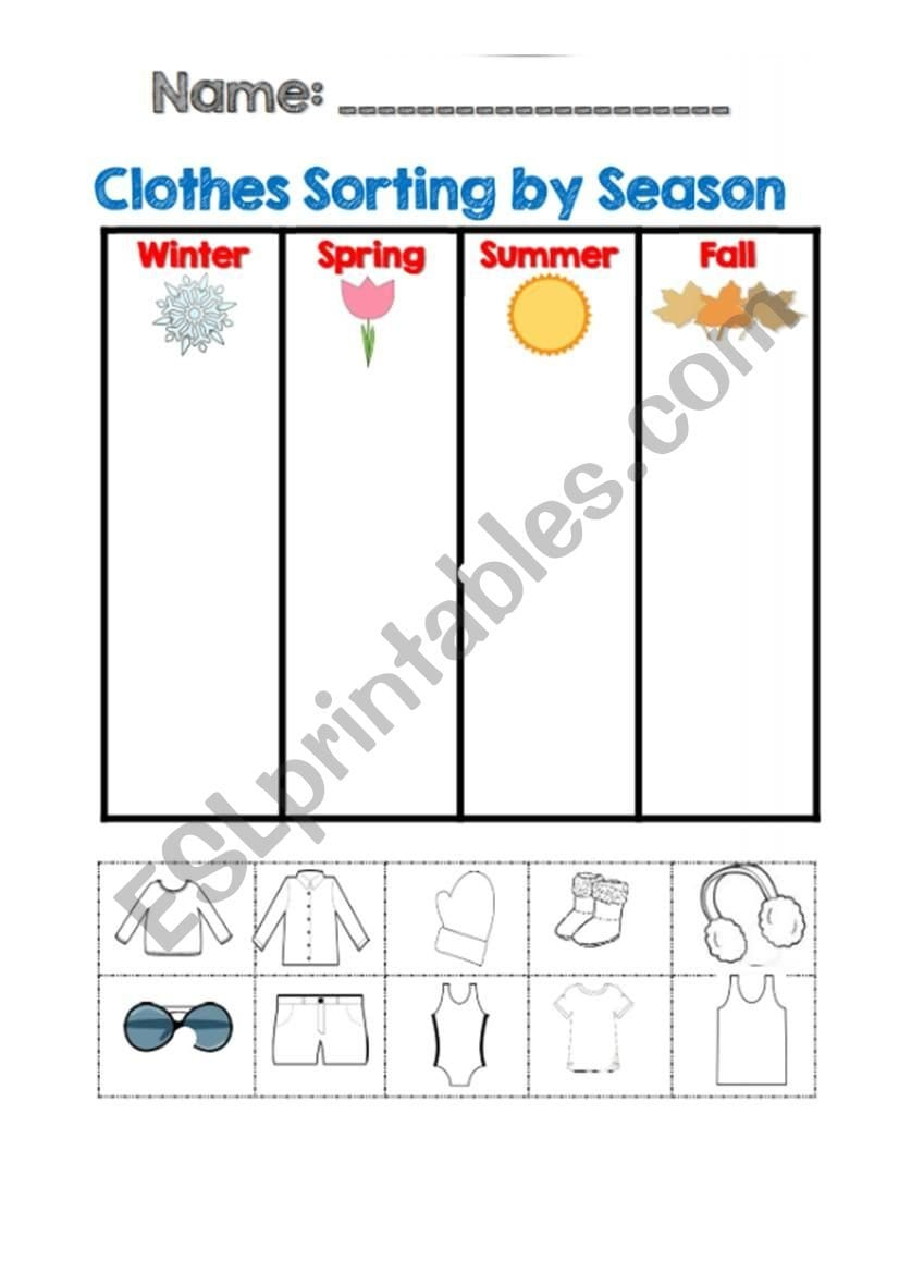Clothes Sortingseasons  Esl Worksheetbellakim85 Also Sorting Clothes Worksheet
