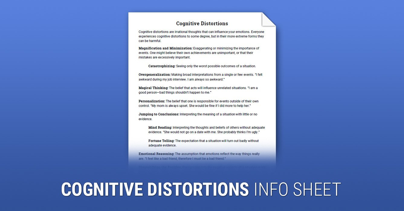 Cognitive Distortions Worksheet  Therapist Aid Intended For Cognitive Distortions Therapy Worksheet