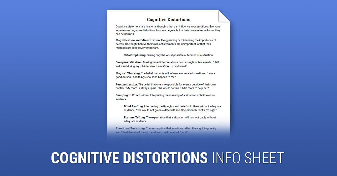 Cognitive Distortions Worksheet  Therapist Aid Or Cbt Worksheets For Children