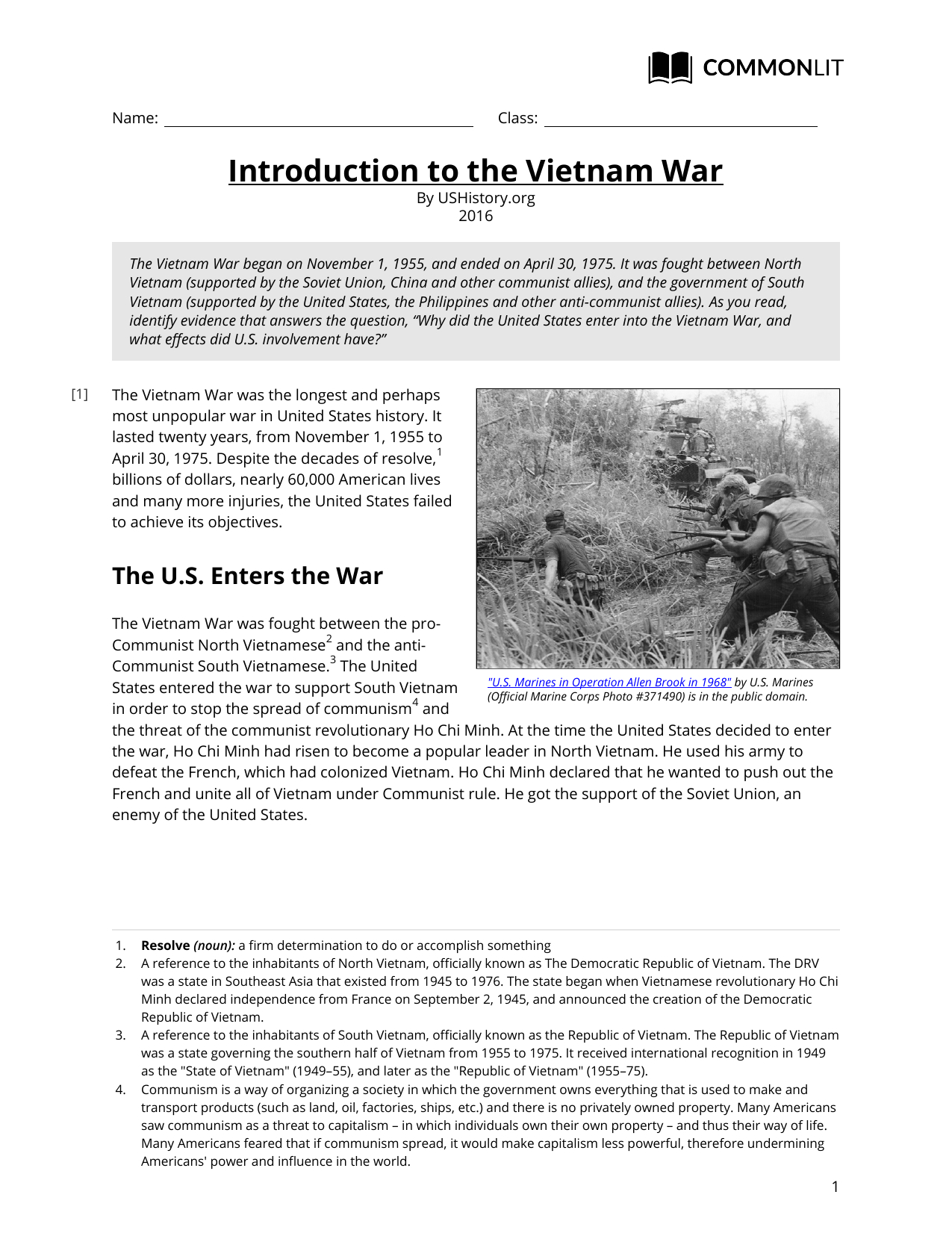 Commonlit  Introduction To The Vietnam War Inside Vietnam War Worksheet Answer Key