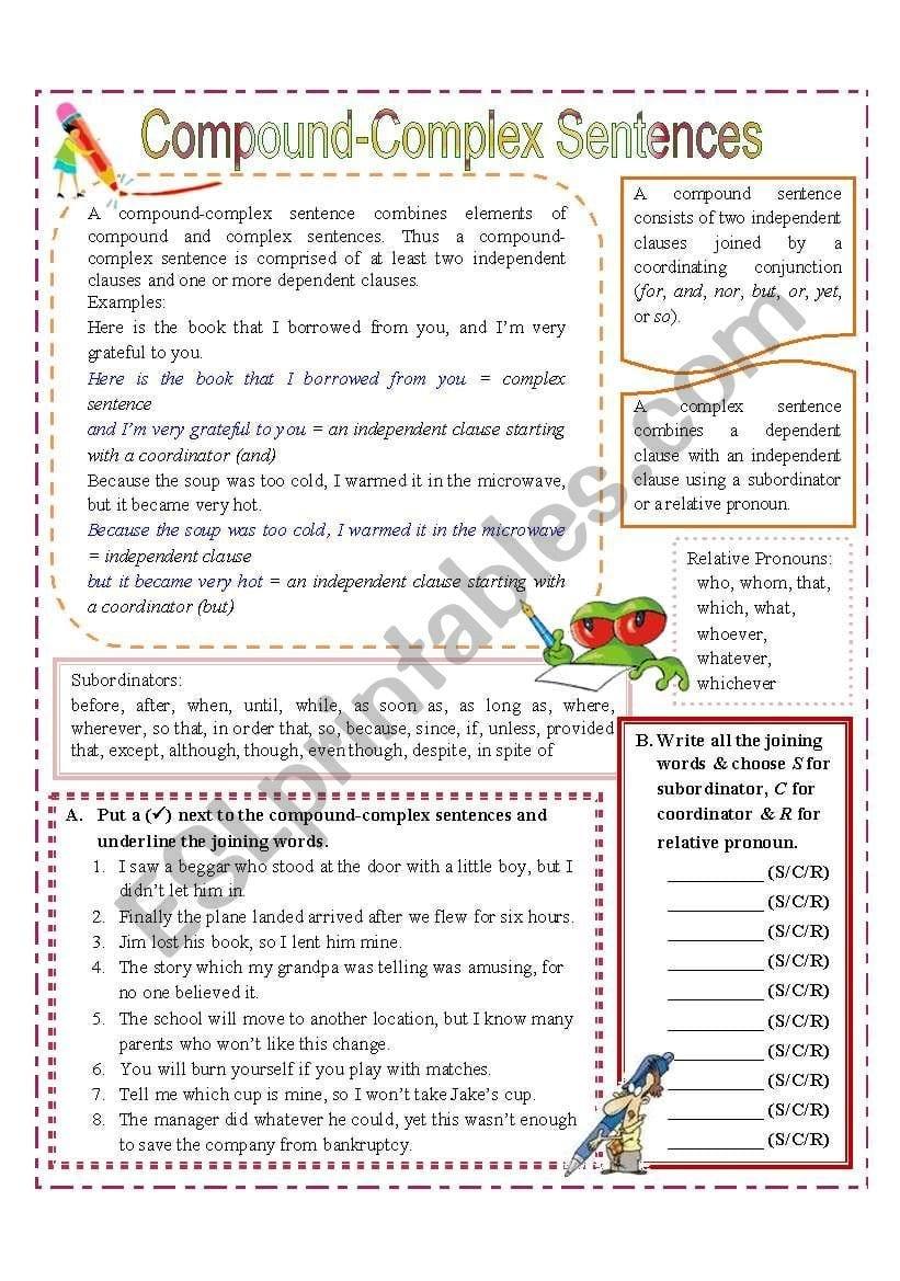 Compound Complex Sentences  Esl Worksheetmissola As Well As Compound And Complex Sentences Worksheet