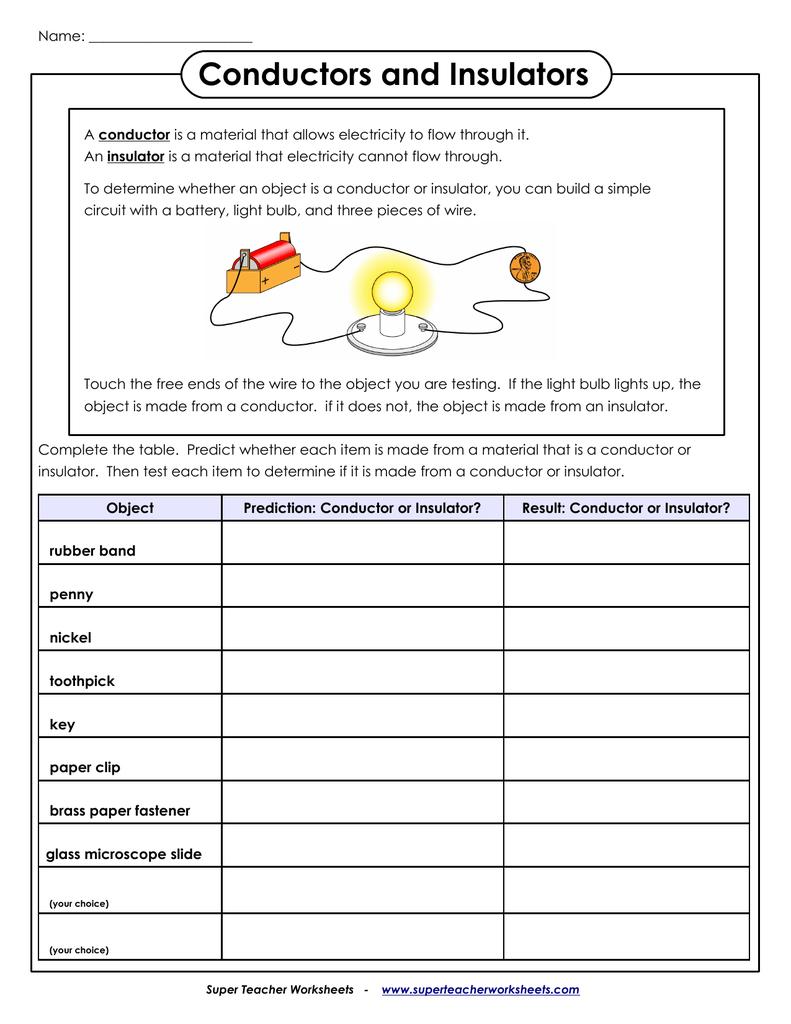 Conductors And Insulators  Super Teacher Worksheets Intended For Super Teacher Worksheets Answer Key