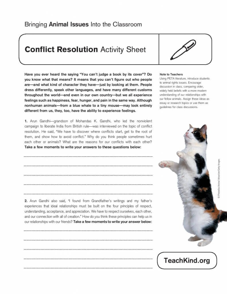 Conflict Resolution Activity Sheet  Peta With Conflict Resolution Worksheets