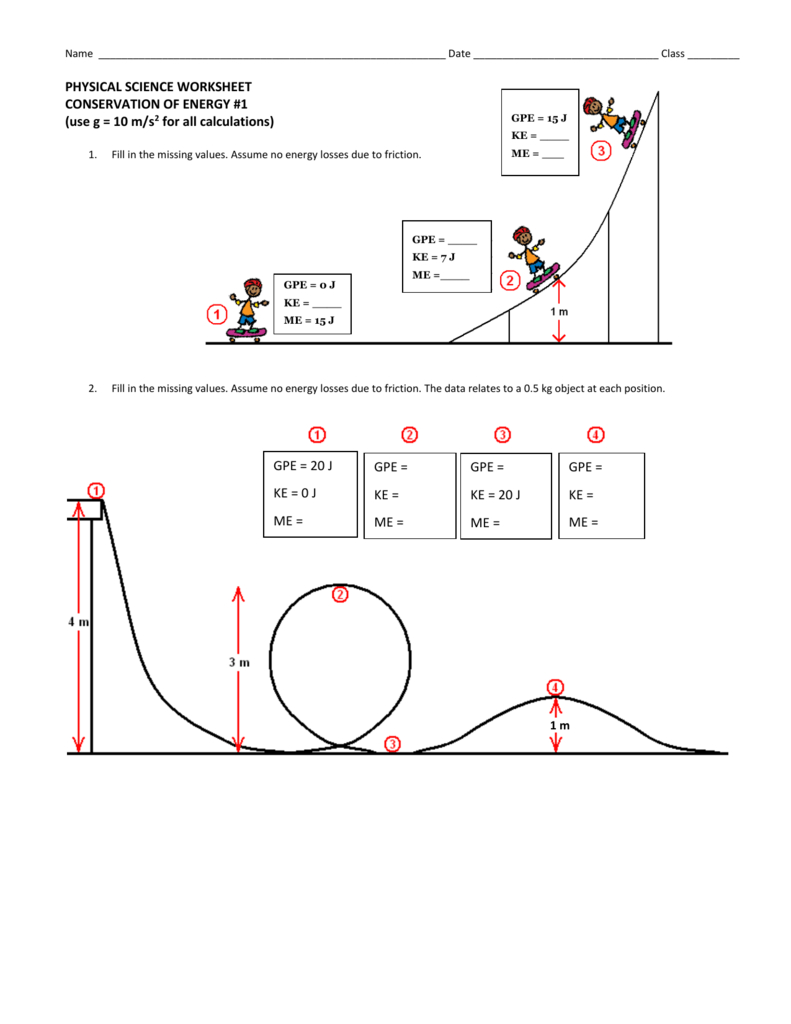 Conservation Of Energy Worksheet 1 Throughout Conservation Of Energy Worksheet Answers