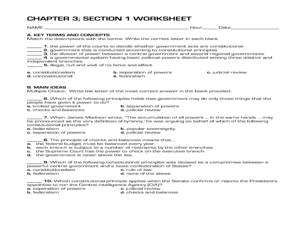 Constitutional Principles Worksheet Answers  Soccerphysicsonline And Constitutional Principles Worksheet Answers