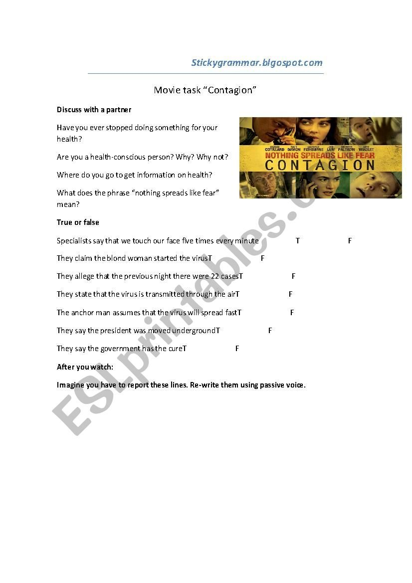 Contagion  Passive Voice  Esl Worksheetclaudioc Pertaining To Contagion Worksheet Answers