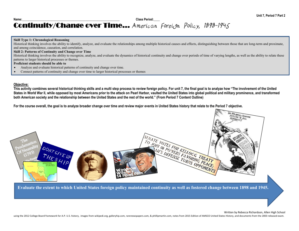 Continuitychange Over Time… American Foreign Policy 18981945 And Foundations Of American Foreign Policy Worksheet