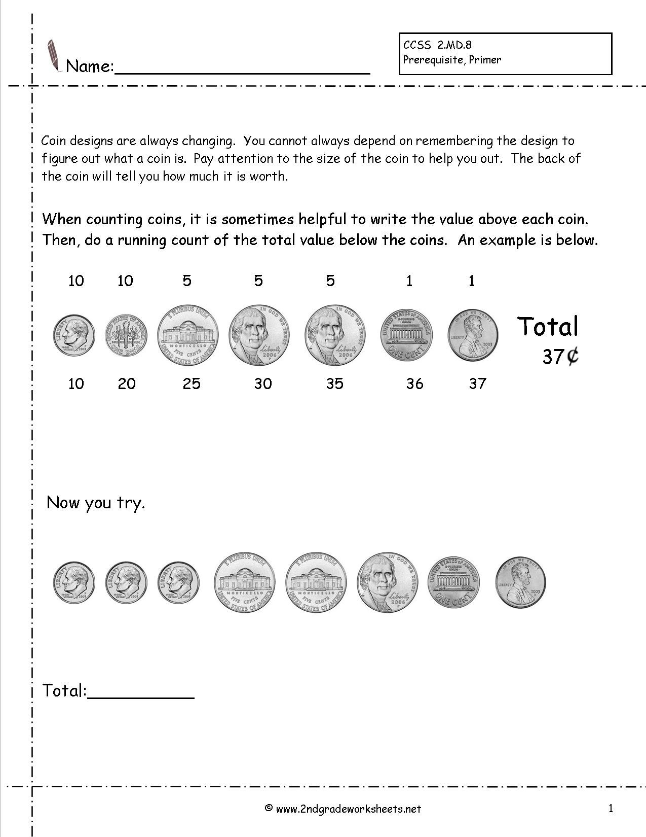 Counting Coins And Money Worksheets And Printouts Throughout Coin Values Worksheet