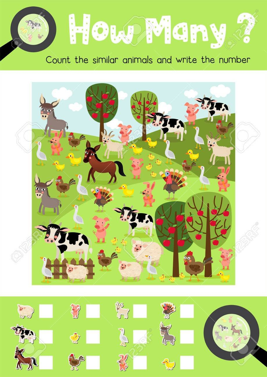Counting Game Of Farm Animals For Preschool Kids Activity Worksheet Pertaining To Los Animales Printable Worksheets