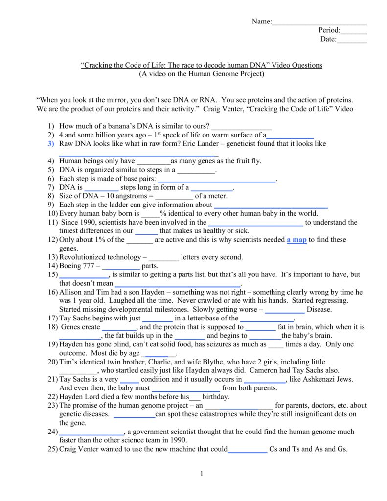 "Cracking The Code Of Life""  Human Genome Project With Regard To Human Genome Video Worksheet Answers"