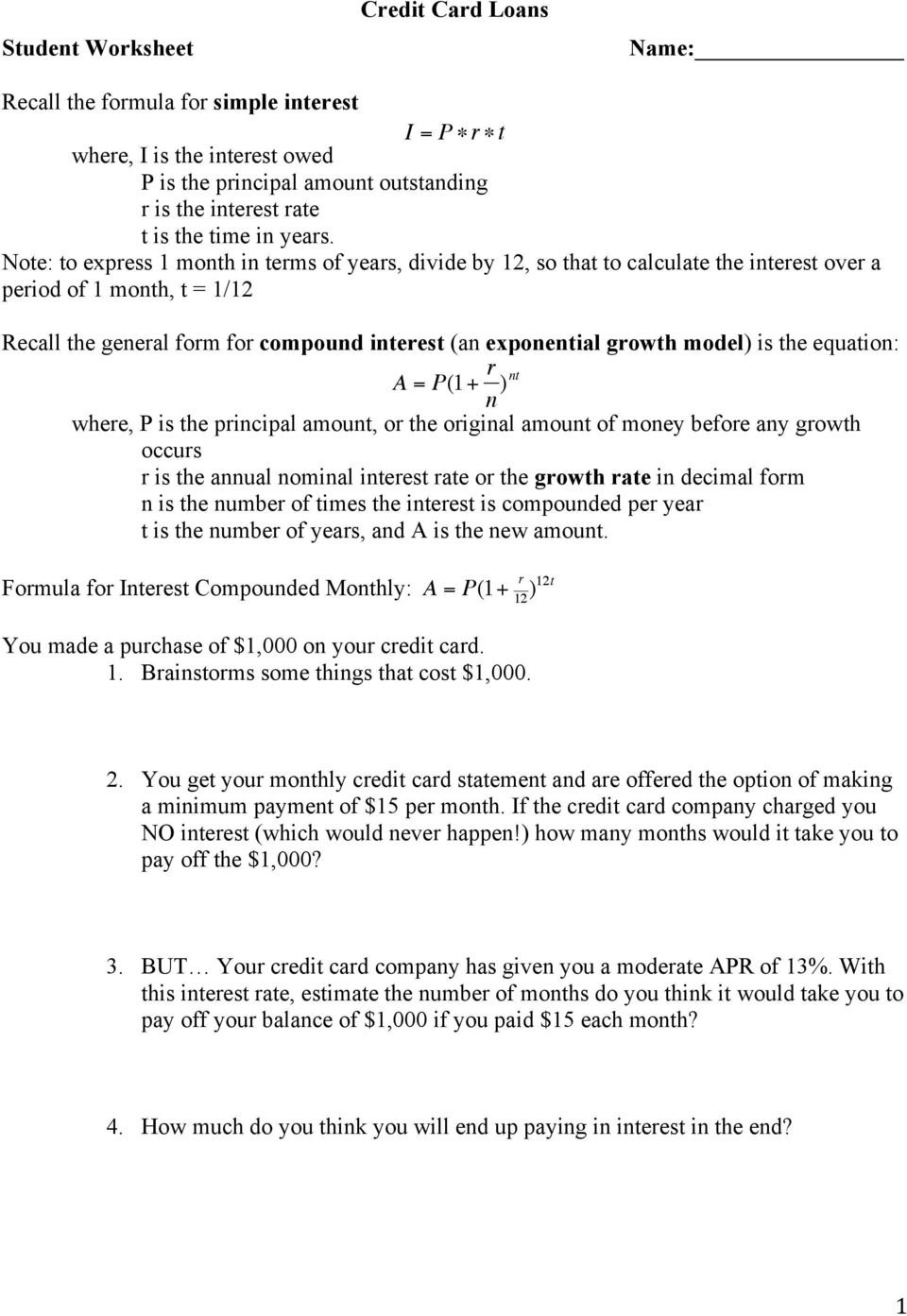 Credit Card Loans Student Worksheet  Pdf Throughout Calculating Your Paycheck Salary Worksheet 1 Answer Key