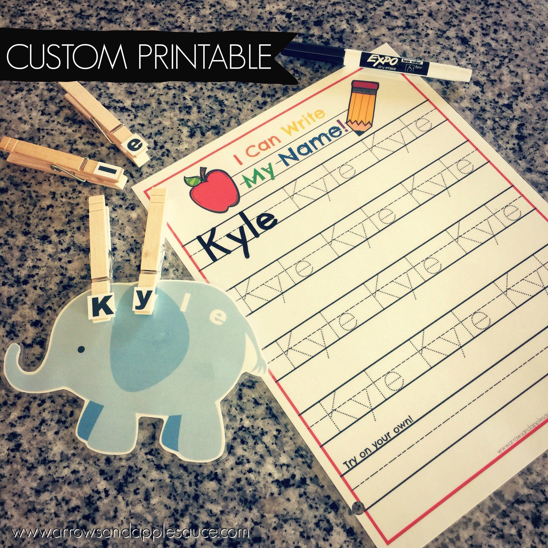 Custom Name Tracing Worksheet And Clip Card Game Preschool  Etsy Regarding Custom Name Tracing Worksheets