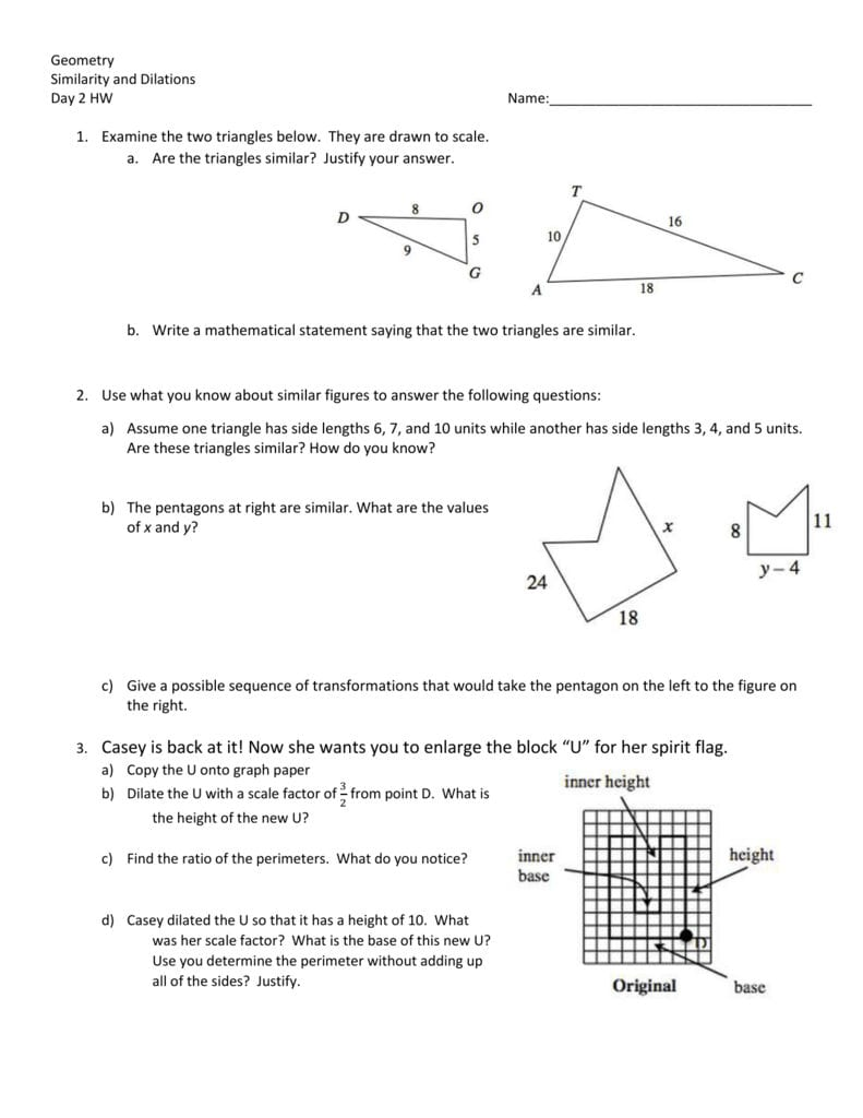 Day 2 Homework Worksheet With Similar Figures Worksheet Answer Key