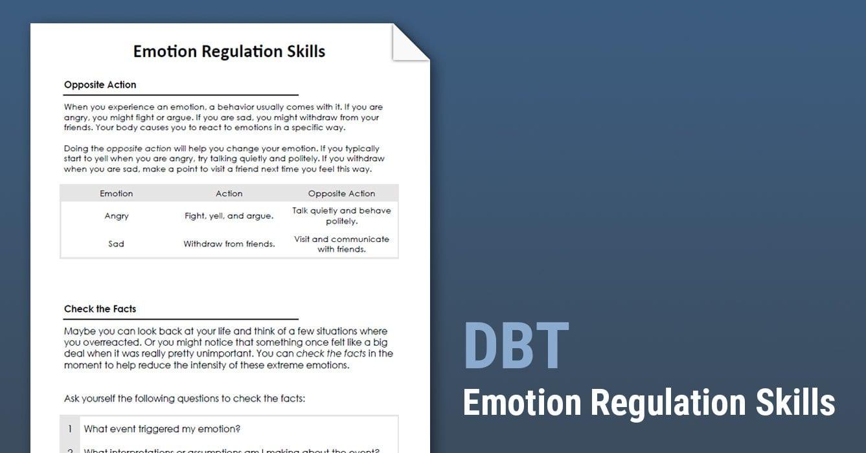 Dbt Emotion Regulation Skills Worksheet  Therapist Aid And Emotional Regulation Worksheets