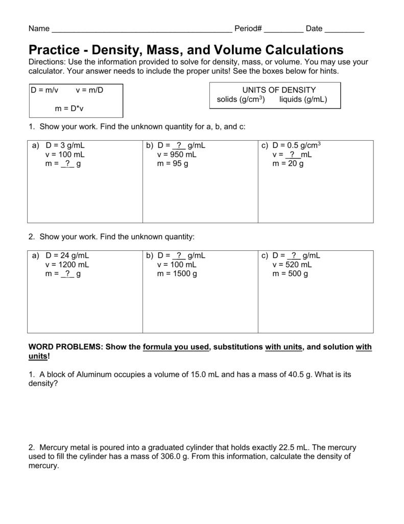 Density Calculations Worksheet I With Density Calculations Worksheet