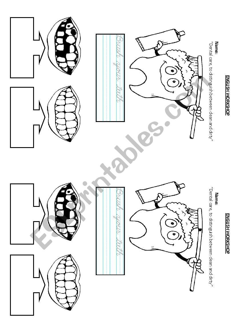 Dental Care  Esl Worksheetximenita1987 For Dental Care Worksheets