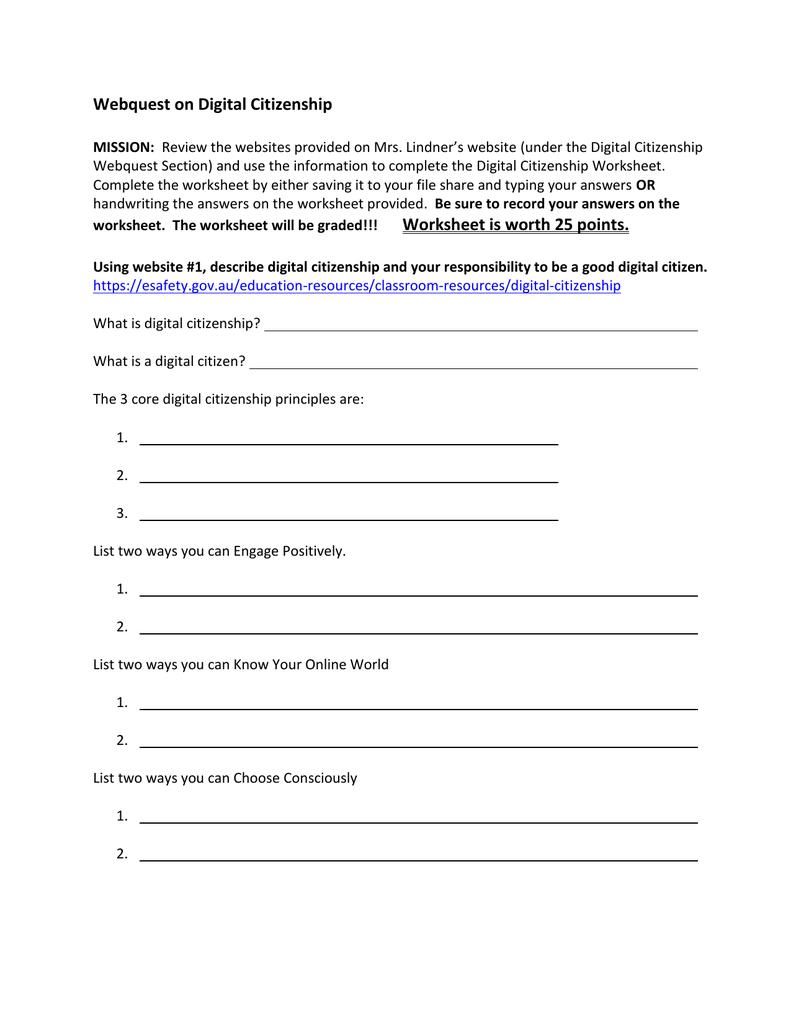 Digital Citizenship Webquest Worksheet Intended For Citizenship In The World Worksheet