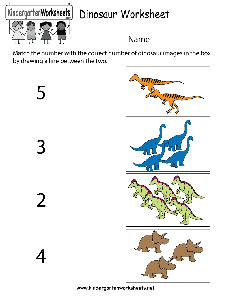 Dinosaur Worksheet  Free Kindergarten Learning Worksheet For Kids And Dinosaur Worksheets For Preschool