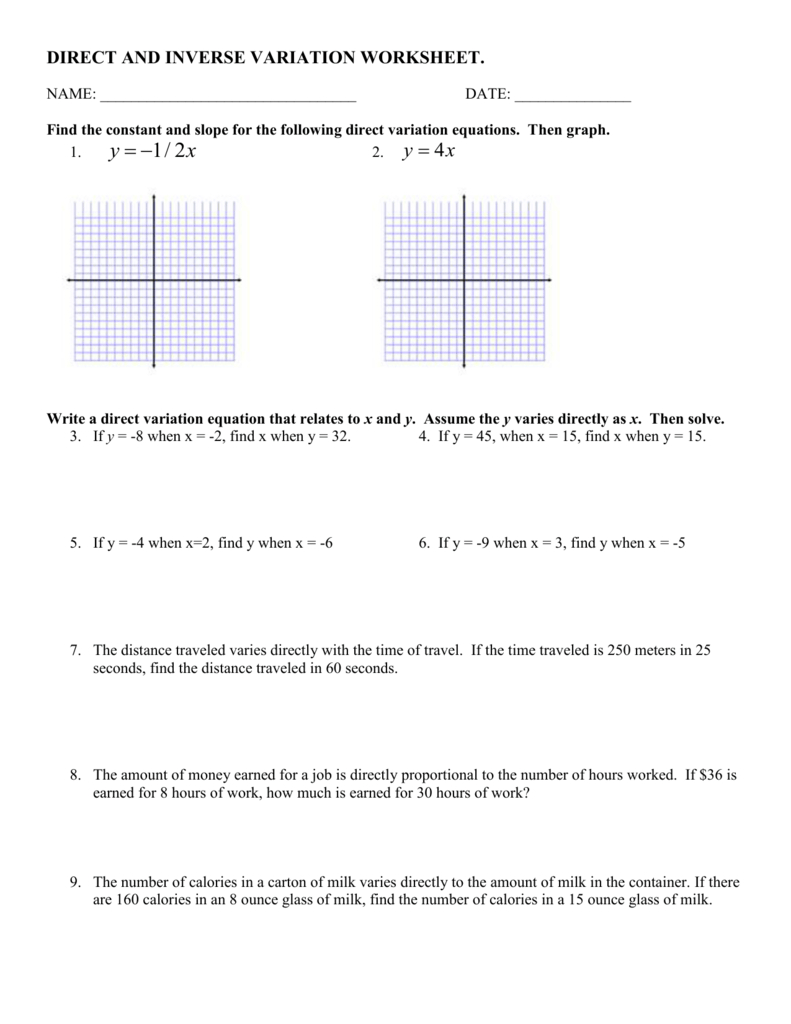 Direct And Inverse Variation Worksheet Pertaining To Direct And Inverse Variation Word Problems Worksheet With Answers