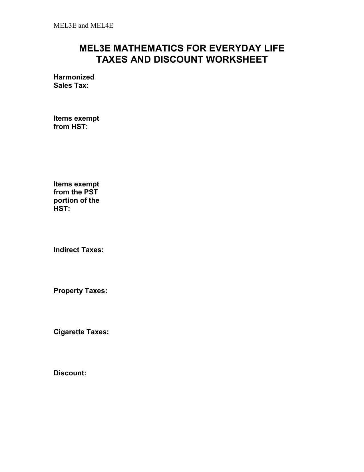 Discounts And Sales Tax Worksheet As Well As Sales Tax And Discount Worksheet
