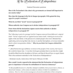 Discussion Questions The Declaration Of Independence As Well As Declaration Of Independence Worksheet Answers