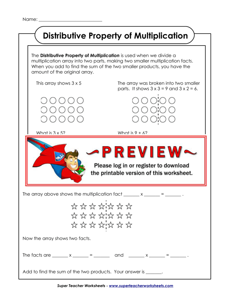 Distributive Property Of Multiplication For Distributive Property Of Multiplication Worksheets