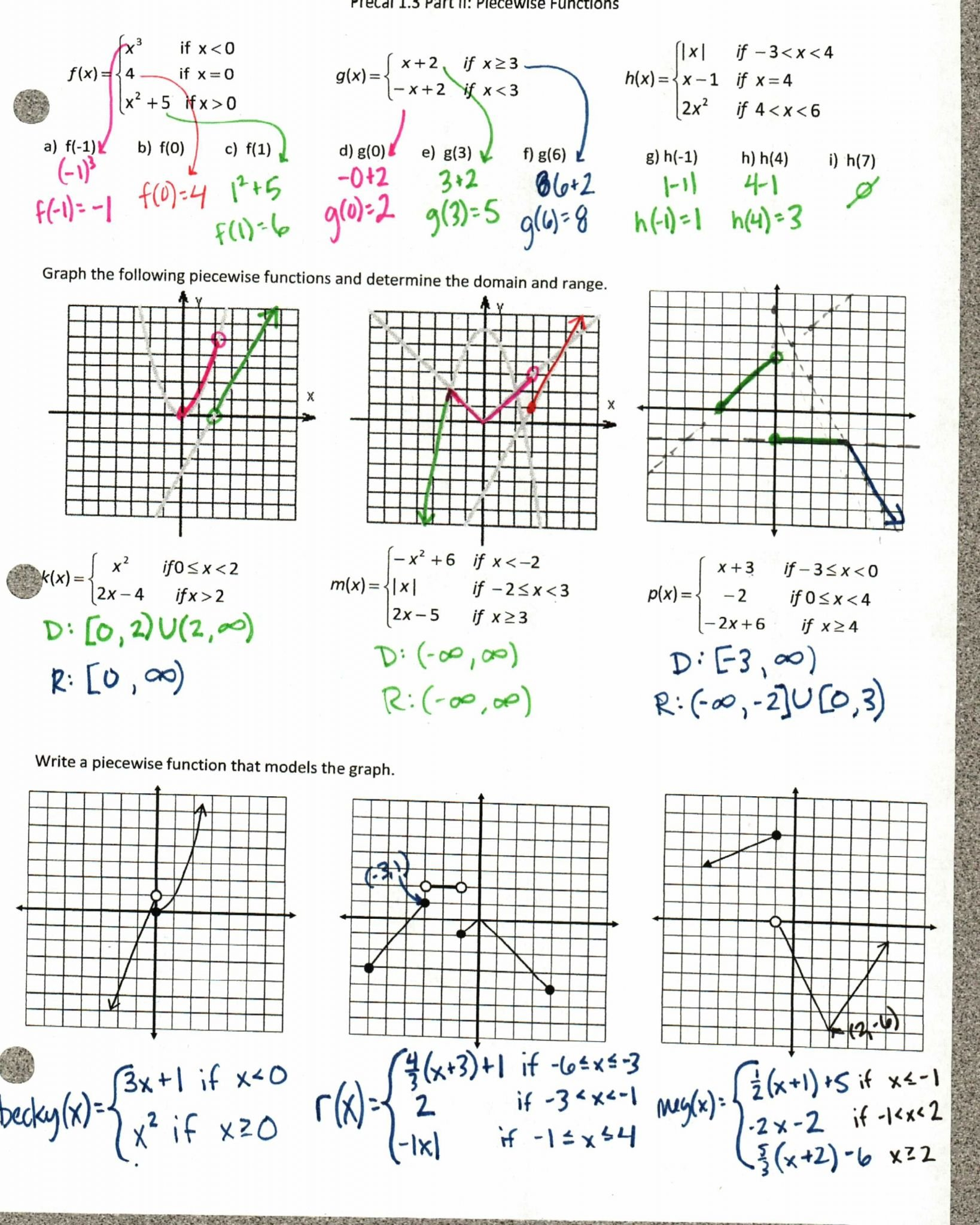 Domain And Range Of A Function Graph Worksheet With Answers Also Domain And Range Of Graphs Worksheet Answers