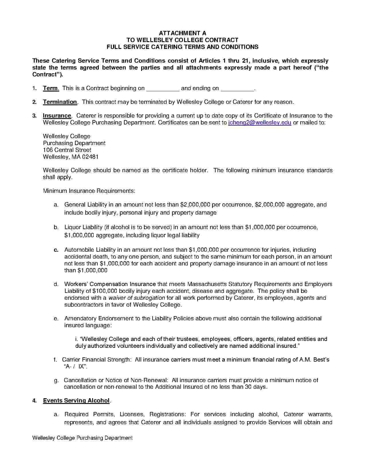Download Catering Contract Style 1 Template For Free At Templates Hunter Inside Catering Contract Worksheet