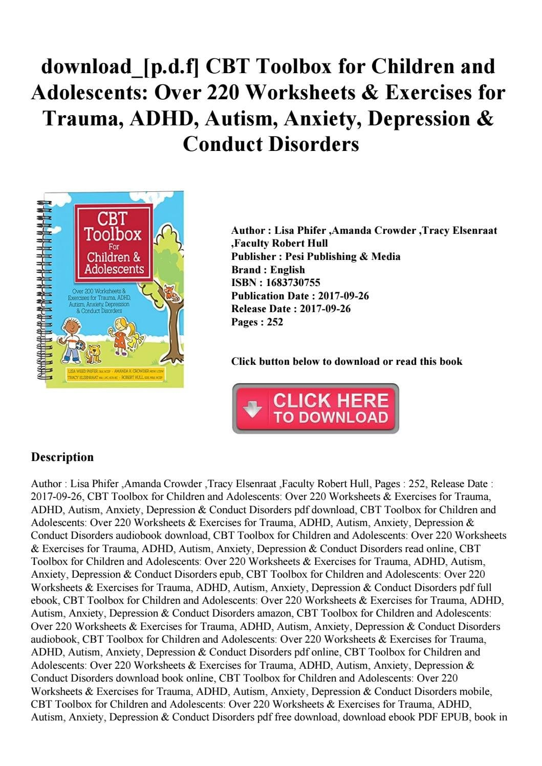 Downloadpdf Cbt Toolbox For Children And Adolescents Over 220 Intended For Cbt For Adhd Worksheets