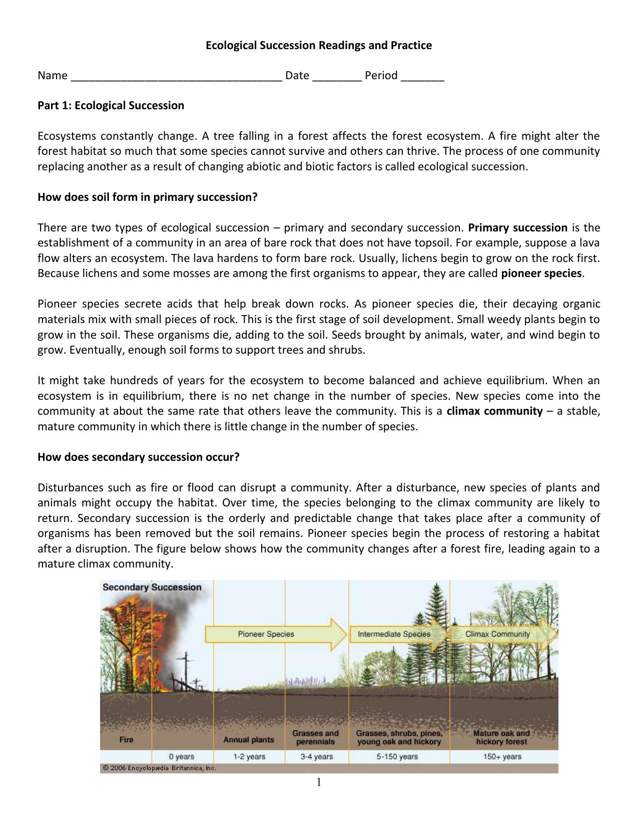 Ecological Succession Worksheet Regarding Succession Worksheet Answers
