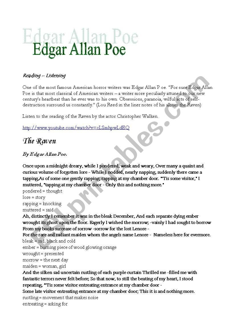 Edgar Allan Poe Raven  Annabel Lee  Esl Worksheetingeds As Well As Annabel Lee Worksheet Pdf