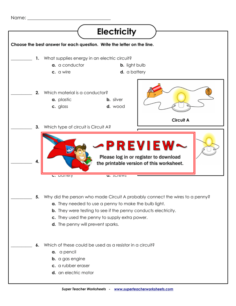 Electricity  Super Teacher Worksheets For Super Teacher Worksheets Answer Key