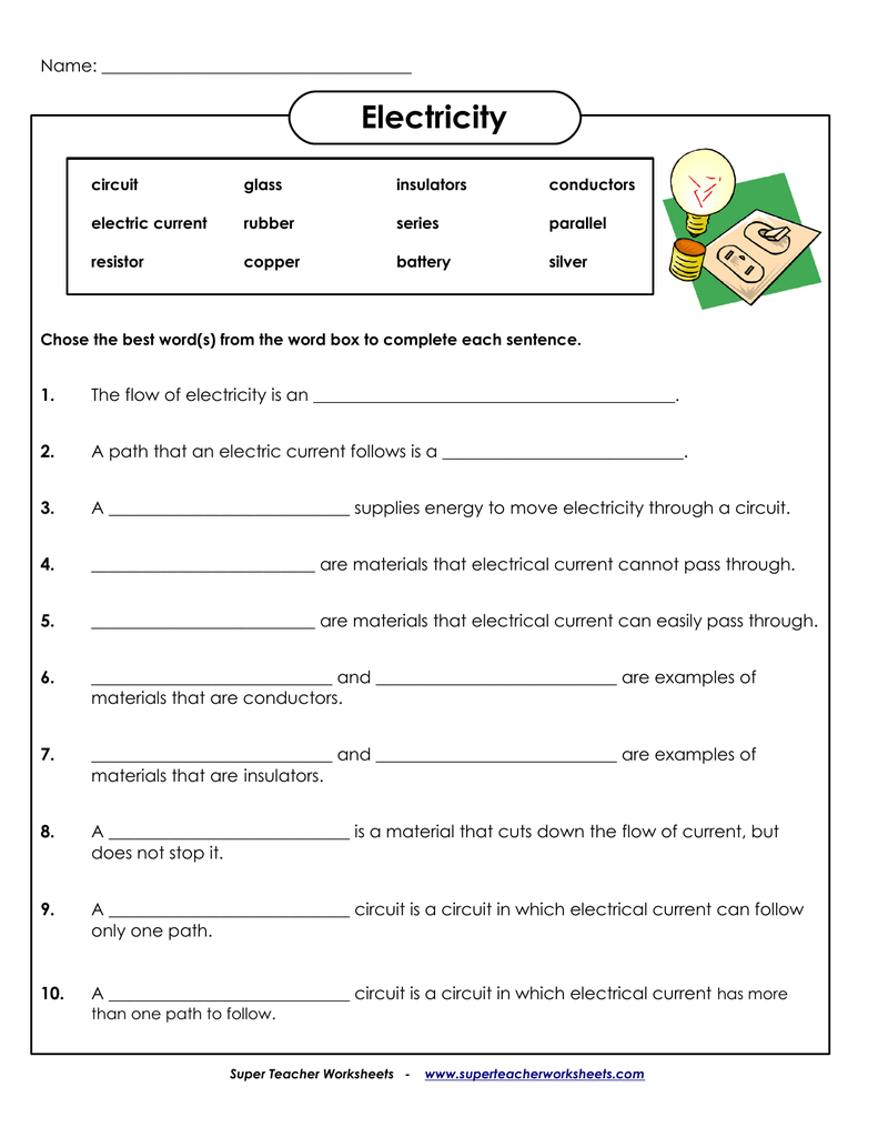 Electricity  Super Teacher Worksheets With Regard To Super Teacher Worksheets Answer Key