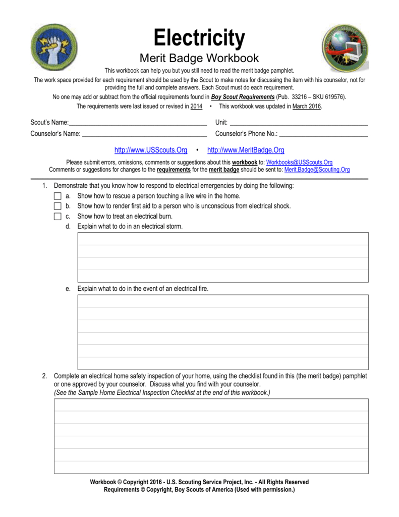 Electricity  Us Scouting Service Project Regarding Electricity Merit Badge Worksheet