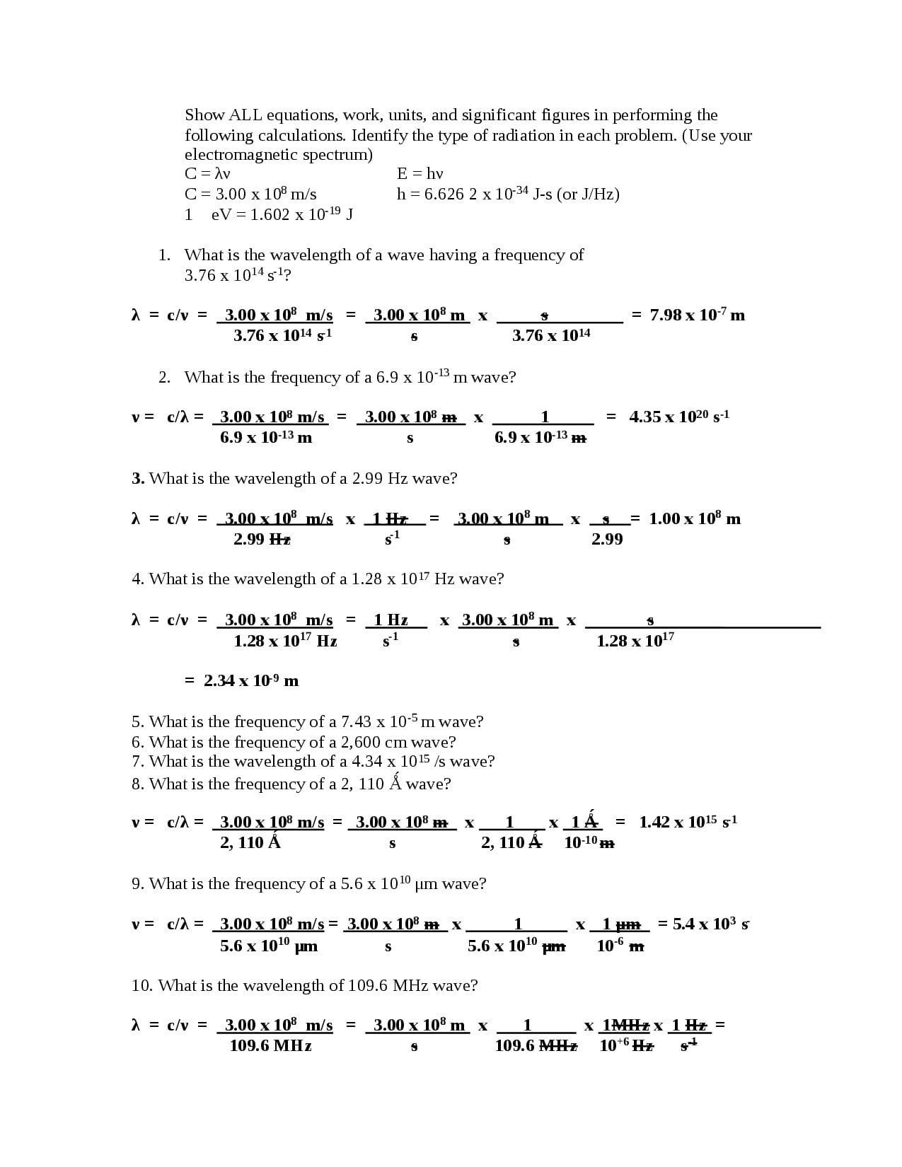 Chemistry Worksheet Wavelength Frequency And Energy Of ...