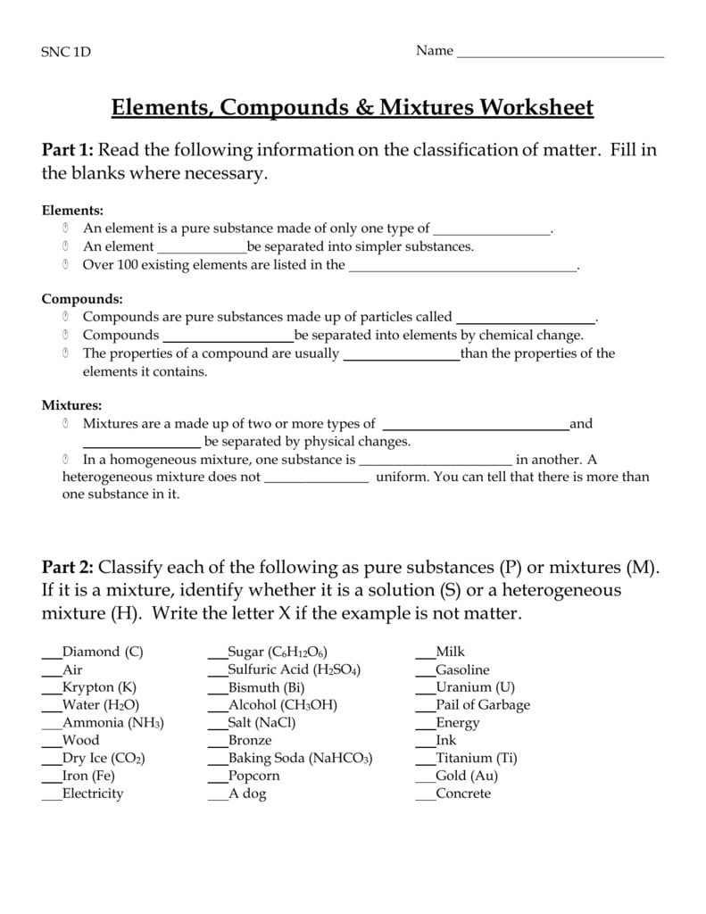 Elements Compounds  Mixtures Worksheet Throughout Elements Compounds And Mixtures 1 Worksheet Answers