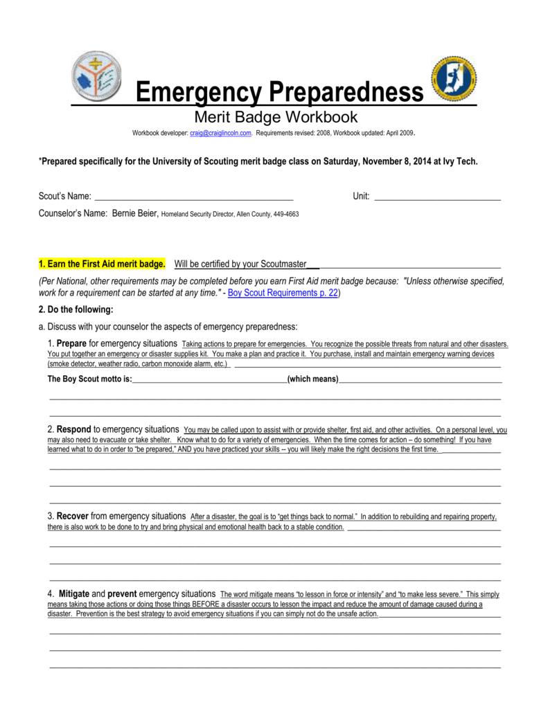 Emergency Preparedness Merit Badge Workbook With Regard To Family Life Merit Badge Worksheet