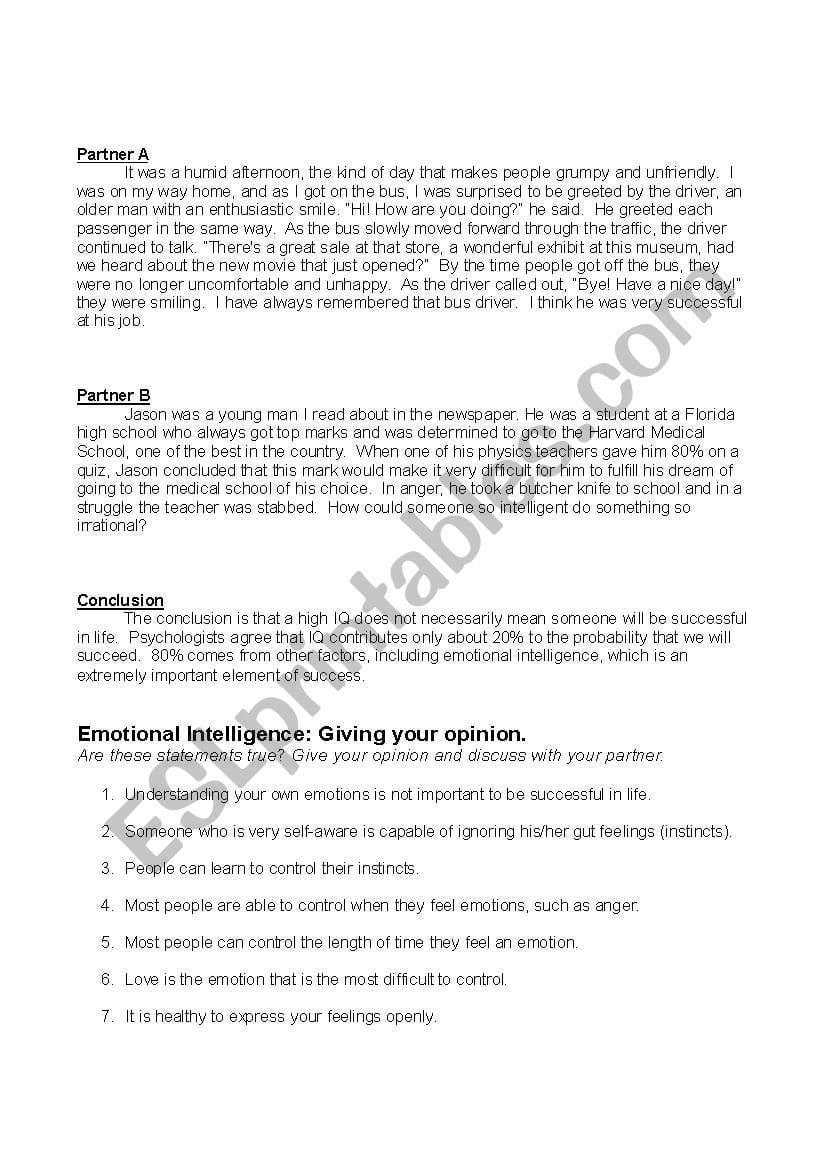 Emotional Intelligence  Esl Worksheetmeej Along With Emotional Intelligence Worksheets