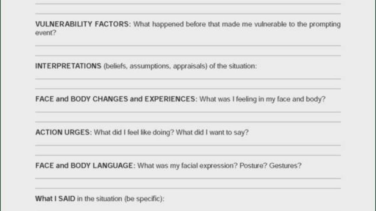 Emotional Regulation Worksheets  Winonarasheed For Emotional Regulation Worksheets