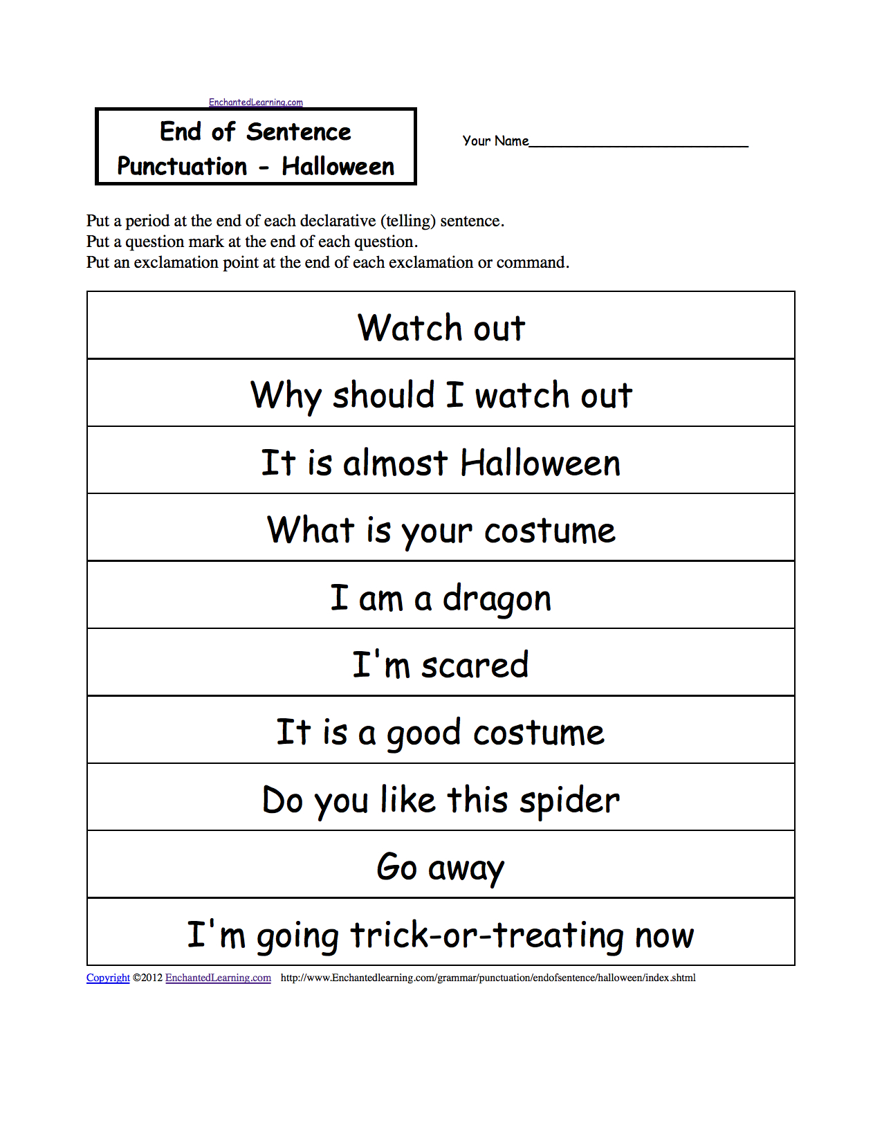 End Of Sentence Punctuation Printable Worksheets Enchantedlearning Throughout Grammar And Punctuation Worksheets