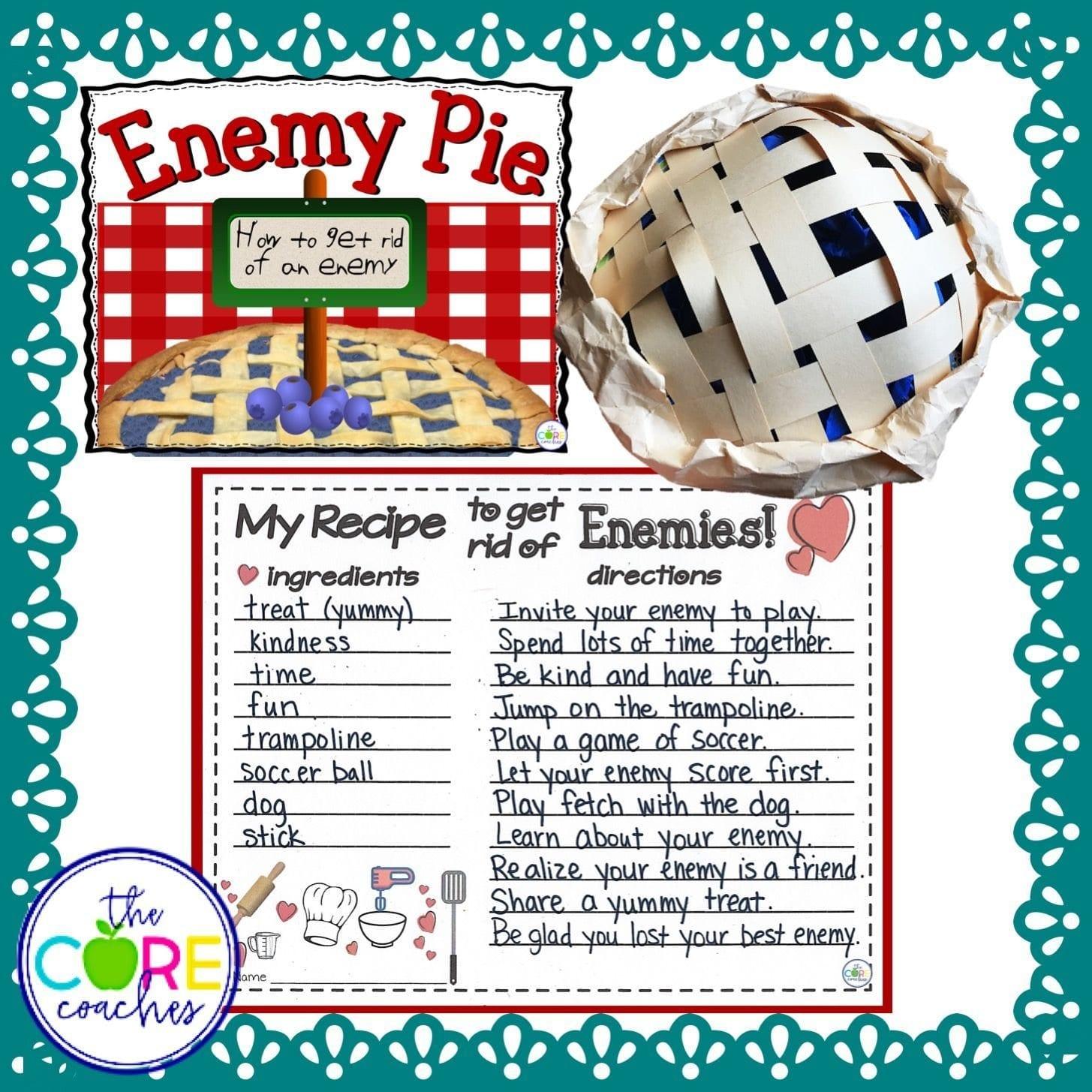 Enemy Pie Printable Worksheet  Briefencounters Within Enemy Pie Printable Worksheet
