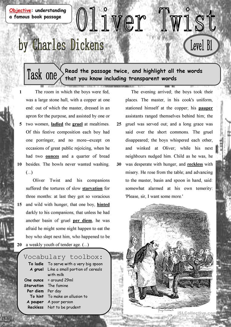 English Esl Oliver Twist Worksheets  Most Downloaded 4 Results Together With Oliver Twist Worksheets Activities