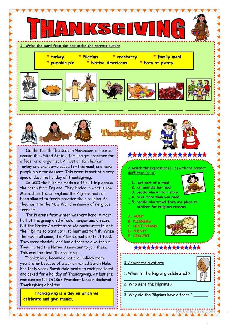 English Esl Thanksgiving Worksheets  Most Downloaded 138 Results For Esl Thanksgiving Worksheets Adults