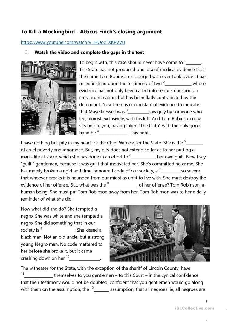 English Esl To Kill A Mockingbird Worksheets  Most Downloaded 3 Inside To Kill A Mockingbird Worksheets