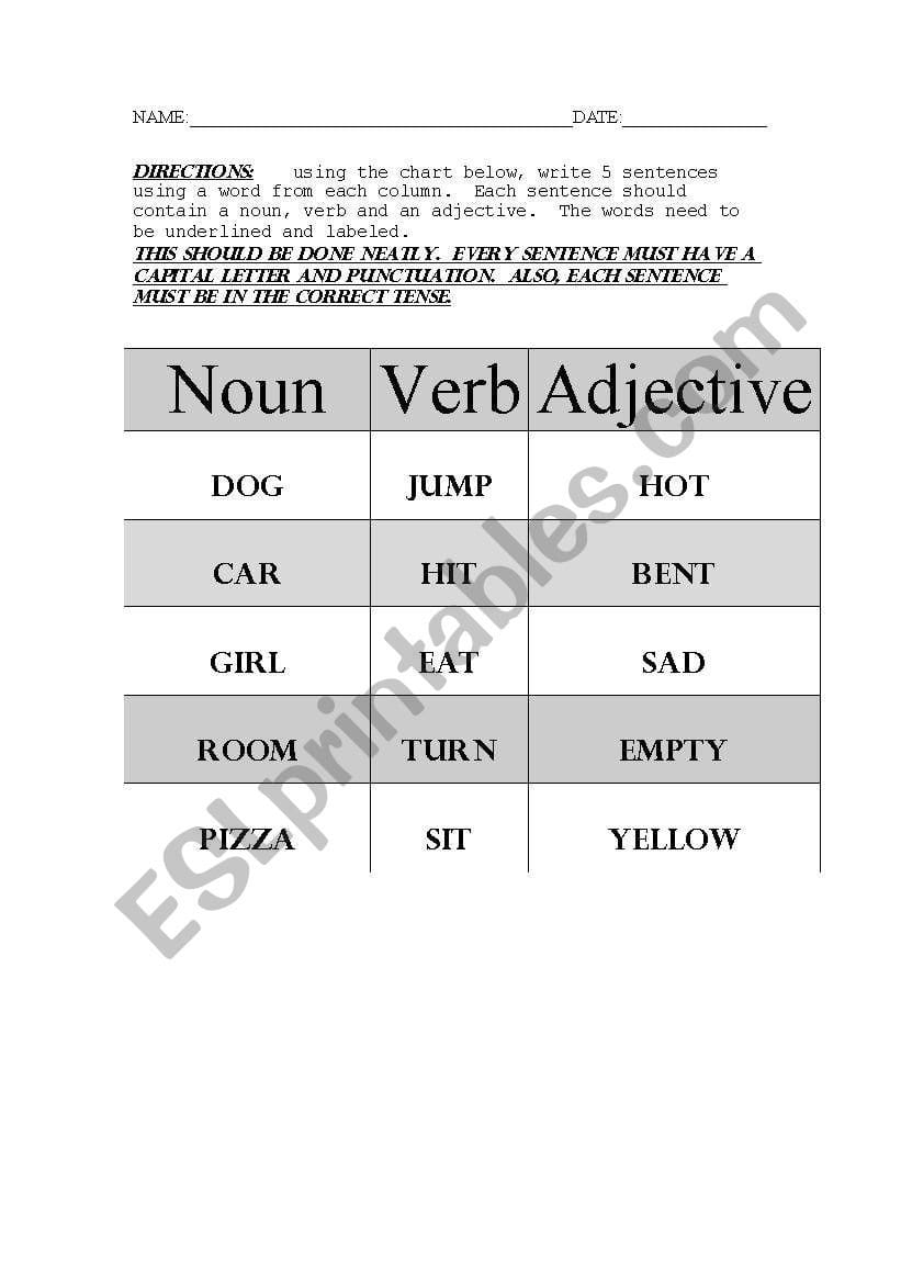 English Worksheets Nounverbadjective Sentences For Noun Verb Sentences Worksheets