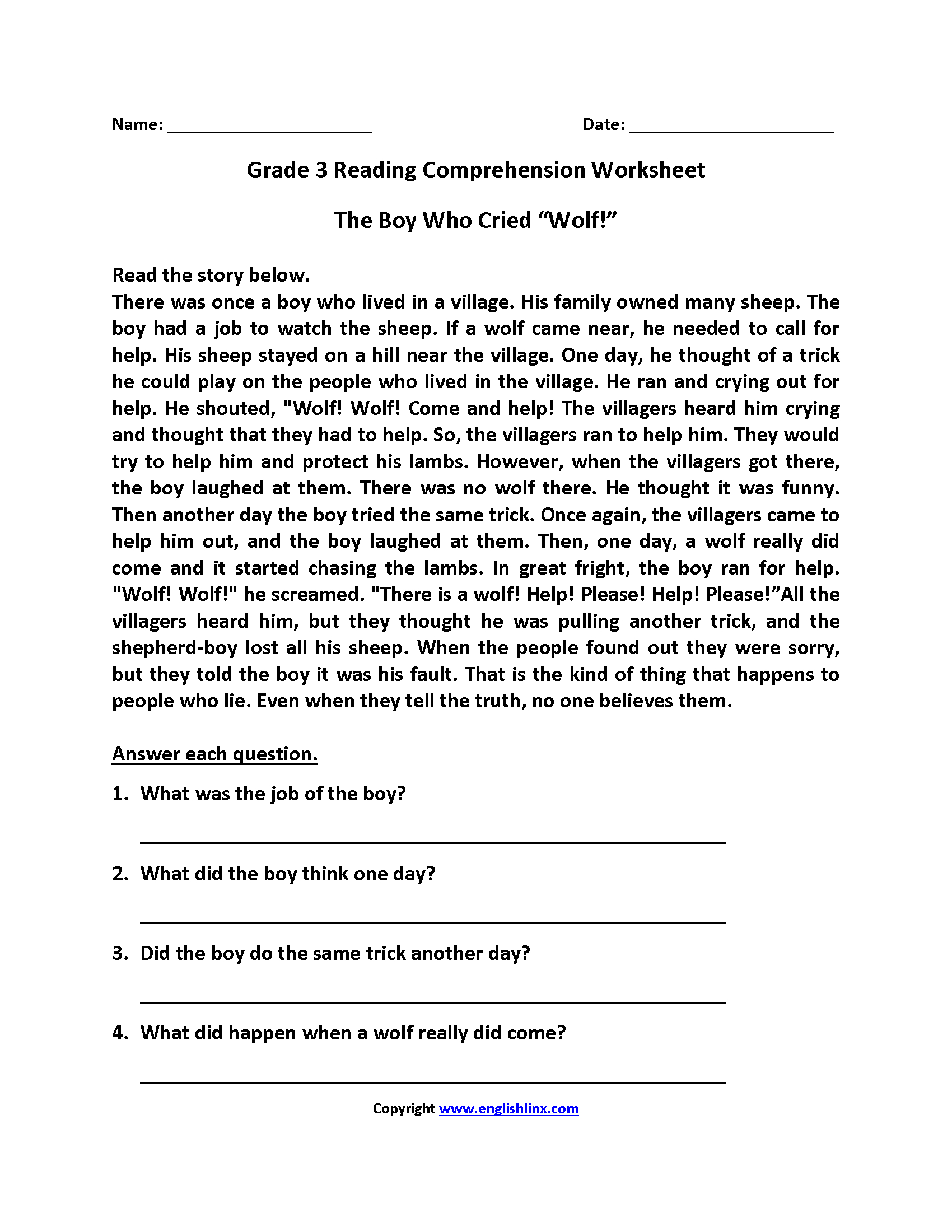 English Worksheets  Reading Worksheets And 4Th Grade Comprehension Worksheets